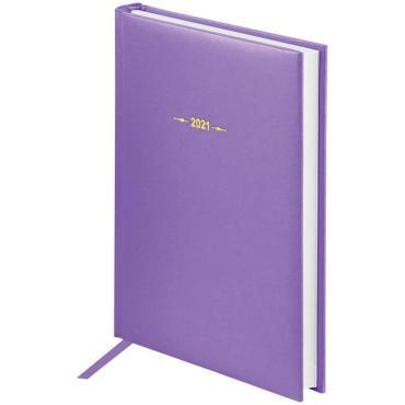 Ежедневник датированный 2021г., A5, 176л., балакрон, OfficeSpace  Ariane, сиреневый