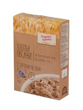 Хлопья овсяные Экстра с семенами льна RICOS, 400 гр., картонная коробка