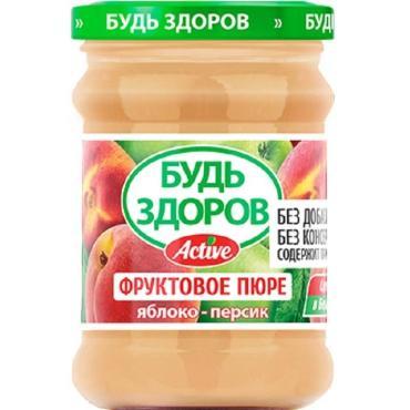 Пюре яблоко-персик фруктовое Будь Здоров, 240 гр., стекло