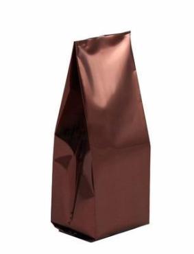 Пакет 60+30*180 мм., с центральным швом, металлизированный коричневый матовый, 50 шт.