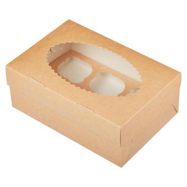 Коробка для пирожных 100х160х100 мм., с окном, картон крафт, GDC