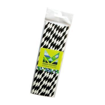 Трубочки бумажные с изгибом полоска, цвет черно-белый d=6 мм. L = 195 мм. 10 шт. Green Mystery Черно-белое кино, пластиковый пакет