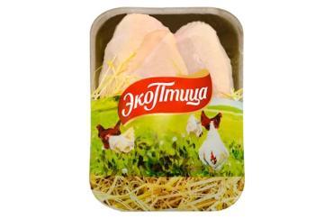 Грудка с кожей цыпленка-бройлера (замороженная), ЭкоПтица, 1 кг., подложка