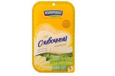 Сыр Сливочный, слайсерная нарезка 50%, Киприно, 125 гр., пластиковая упаковка