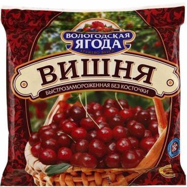 Вишня Вологодская ягода быстрозамороженная без косточки высший сорт,  Кружево вкуса, 300 гр., флоу-пак