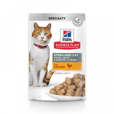 Корм влажный для молодых стерилизованных кошек и кастрированных котов с курицей в соусе Hill's Science Plan, 85 гр., пластиковый пакет