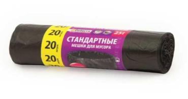 Мешки для мусора черные 25 шт., 20 л., Paterra, бумажная упаковка
