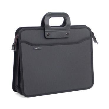 Папка портфель пласт на 4 отд А4+ 390*320, усилен. ручка, черн.