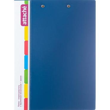 Папка скорошивательтель с пружин.мех.+зажим Attache,0.7 мм, синий