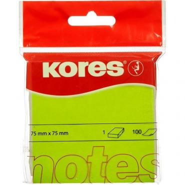 Блок-кубик Kores бум.для зам. 75х75 неон. зеленая 100л. 47075 (47077/47075)