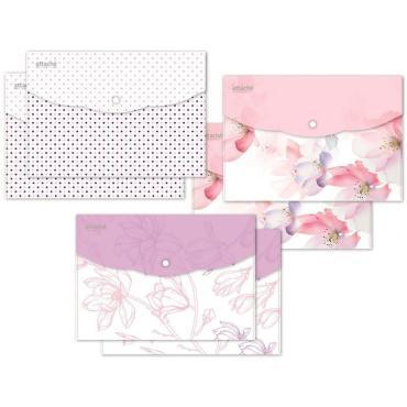 Папка конверт на кнопке А5, 180мкм, Flower Dreams ассорти, 6 шт.уп