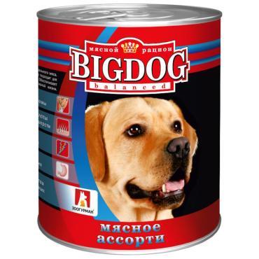 Влажный корм для собак, мясное ассорти Big Dod Зоогурман, 850 гр., жестяная банка