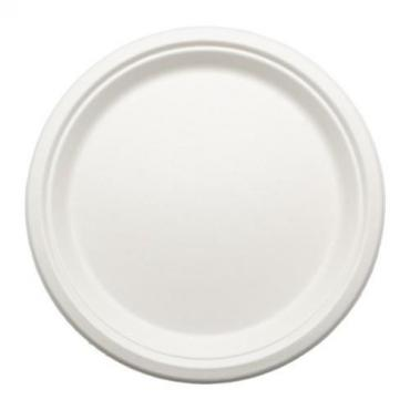 Тарелка одноразовая пластиковая эко круглая белая d=23 см., 50 шт., 100 гр., пластиковый пакет