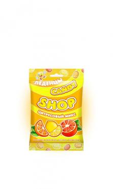 Карамель леденцовая со вкусом: апельсина, лимона, грейпфрукта цитрусовый микс Candyshop 80 гр., флоу-пак