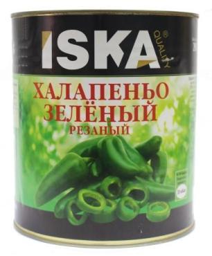 Перец халапеньо зеленый резаный маринованный ISKA, 3,1 л., жестяная банка
