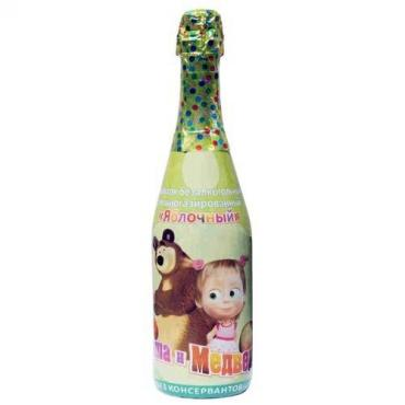 Детское шампанское, яблоко, Маша и Медведь, 750 мл., стекло