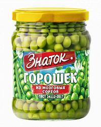 Горошек зеленый высший сорт Знаток, 450 гр., стекло