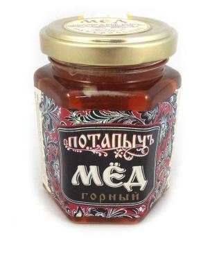 Мёд Потапыч натуральный горный, 250 гр, стекло
