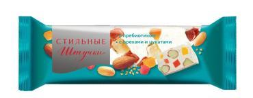 Конфета-пластина неглазированная нуга с орехами и цукатами, Стильные  штучки, 60 гр., флоу-пак