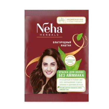 Краска для волос без аммиака благородный каштан Himalaya Neha Herbals Индийская Хна, 20 гр., сашет