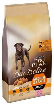 Корм сухой для взрослых собак средних и крупных пород, с высоким содержанием лосося, Pro Plan Duo Delice Optibalance, 10 кг., пластиковый пакет