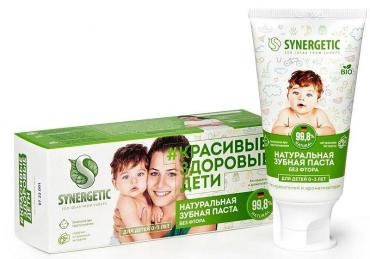 Зубная паста детская липа и ромашка, от 0 до 3 лет Synergetic, 50 гр., пластиковая туба