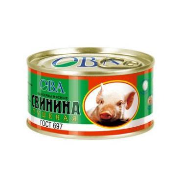 Тушенка свинина 1с, ОВА, 325 гр., жестяная банка