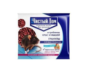 Гранулы от крыс и мышей с запахом ореха Чистый Дом 125 гр. пластиковый пакет