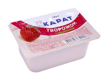 Творожок фруктовый клубничный 9% Карат, 100 гр., пластиковая упаковка
