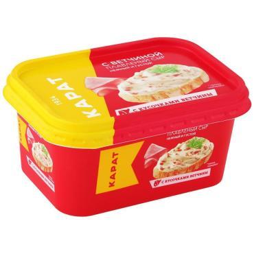 Сыр плавленный сливочный с ветчиной 45% Карат , 200 гр., пластиковая упаковка