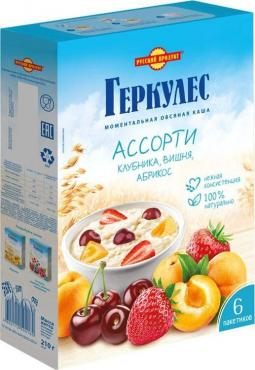 Каша овсяная Геркулес ассорти клубника,абрикос, вишня, Русский продукт, 210 гр., картон