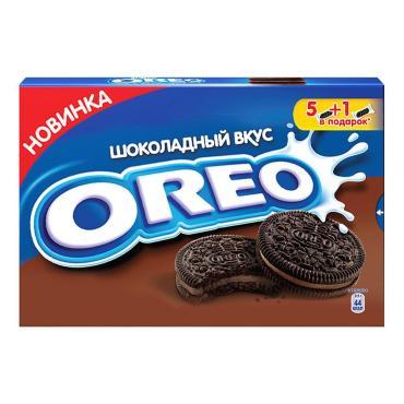 Печенье с какао и начинкой, покрытое глазурью с какао, с ванильным вкусом, Oreo, 190 гр., картон