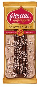 Шоколад Дуэт с миндалем, Золотая марка, , РОССИЯ - ЩЕДРАЯ ДУША!, 85 гр., флоу-пак