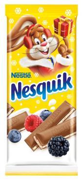 Шоколад молочный с молочной начинкой, ягодами и злаками , , NESQUIK, 100 гр., флоу-пак