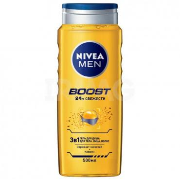 Гель для душа Nivea Men Boost 3в1, 500 мл., ПЭТ