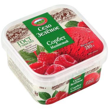 Мороженое Село Зеленое Сорбет малиновый замороженный, 280 гр., пластиковый контейнер