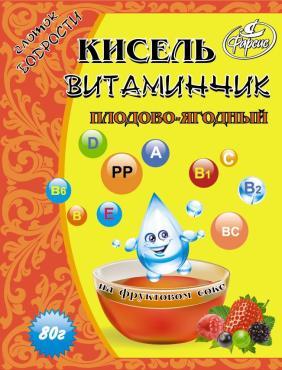 Кисель клубничный  Витаминчик,Фарсис, 60 гр., сашет