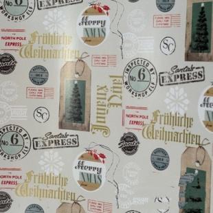 Бумага оберточная 700 мм., 30 м., в рулоне PapStar Рождественская почта
