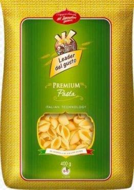 Макароны ракушки рифленные макаронные изделия в/с Leader del gusto 400 гр., пластиковый пакет