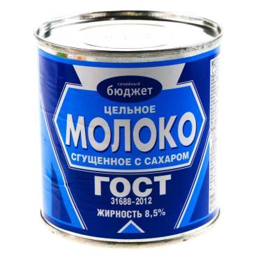 Сгущенка СТО Семейный бюджет, 380 гр., ж/б