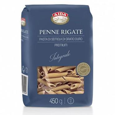 Макароны, цельнозерновые перья Aida Penne Rigate, 450 гр., пластиковый пакет