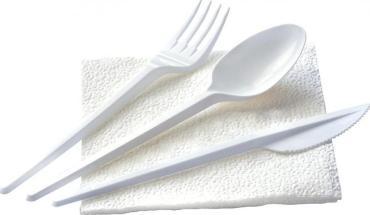 Комплект №4 ложка столовая, вилка, нож, салфетка белый ПП