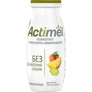 Напиток кисломолочный виноград, персик, ананас 2,2% Actimel, 95 гр., ПЭТ