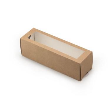 Коробка для пирожных ДхШхВ 180х55х55 мм., с окном картон крафт GDC