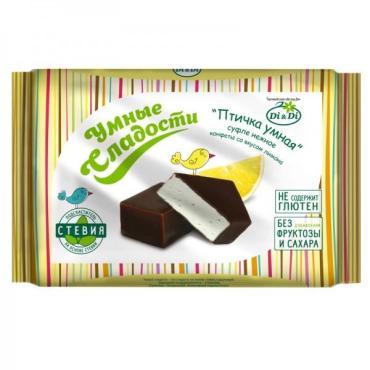 Конфеты суфле нежное со вкусом лимона Умные сладости Птичка умная, 215 гр., флоу-пак