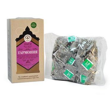 Чай, чёрный с добавками, 20 пирамидок Бабушкины рецепты Гармония, картон