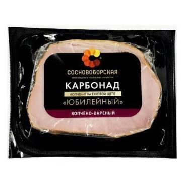 Карбонад Юбилейный копчено-вареный, Сосновоборская, 300 гр., в/у