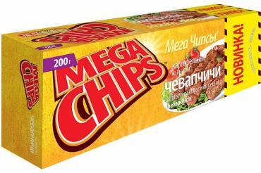 Чипсы картофельные со вкусом чевапчичей, Мегачипсы, 200 гр., картон