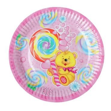 Тарелка бумажная розовая набор 6 шт. Страна Карнавалия Мишка и сладости, 50 гр., пластиковый пакет
