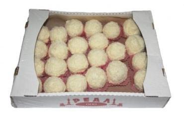 Пирожное с начинкой в кокосовой стружке Реал Снежок Рафаэлло, 2 кг., картон